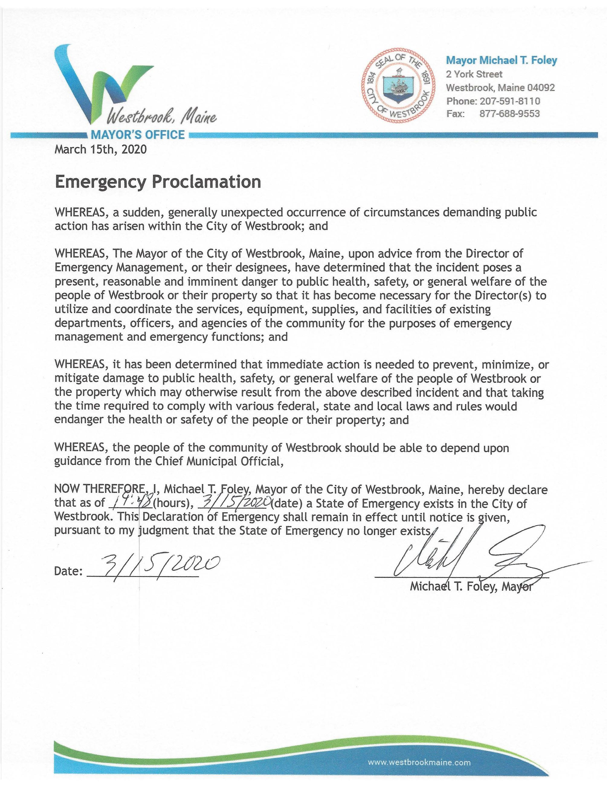 Emergency Proclamation 3.15