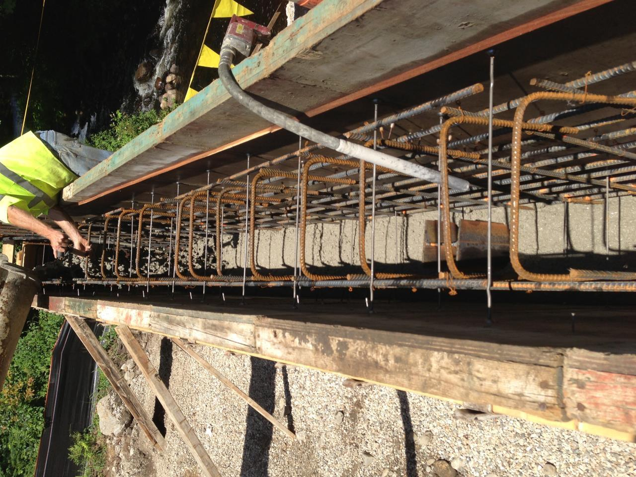 Rebar with concert being poured