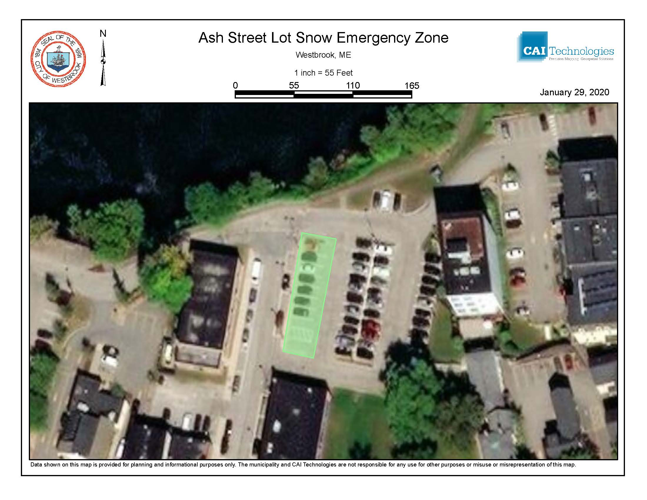 Ash Street lot Snow Emergency Zone
