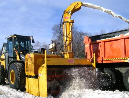 Large machinery removing snow